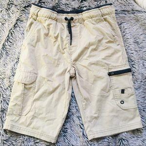 FIRST WAVE boy's khaki black cargo shorts 10/12